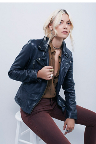 Free People Womens Classic Biker Jacket