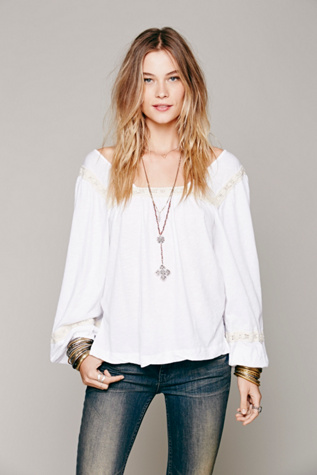 Free People Womens Poppy Peasant Shirt