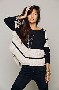 Colorblock Fringe Pullover at Free People