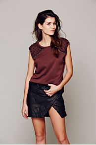 Stanzee Manchester Quilted Leather Skirt at Free People