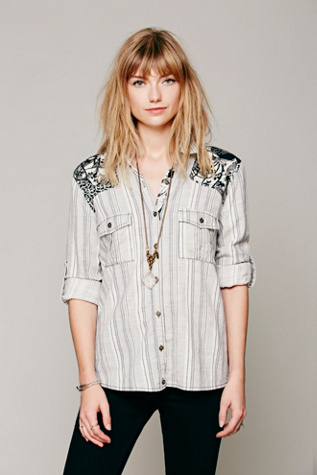 Free People Womens Stripe Printed Shoulder Shirt
