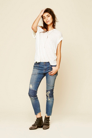 Free People Womens Rugged Seamed Moto Skinny