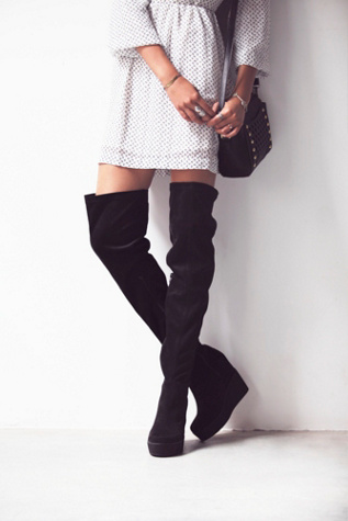 Jeffrey Campbell + Free People Womens Mind and Matter Over the Knee Boot