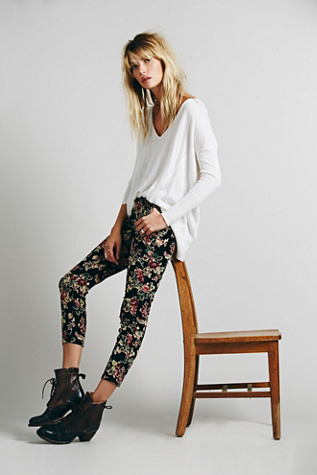 Free People Womens FP Printed Cord Skinny