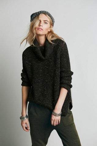 Free People Womens Dylan Tweedy Pullover