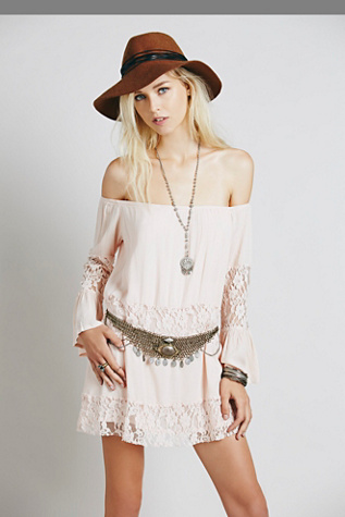Love Project for Free People Womens Gauze Off the Shoulder Dress