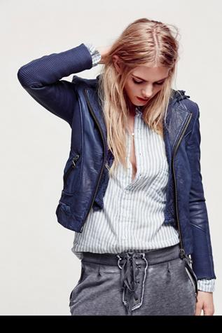 Doma Womens Sweater Hood Leather Biker Jacket