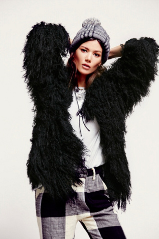 Free People Womens Faithful Shaggy Jacket