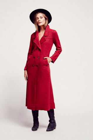 Free People Womens Maxi Double Breast Sweater Coat