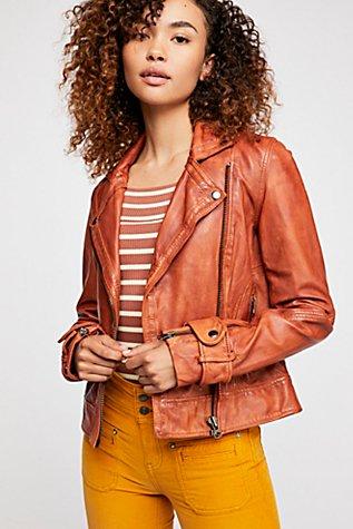 Washed Leather Moto Jacket | Tuggl