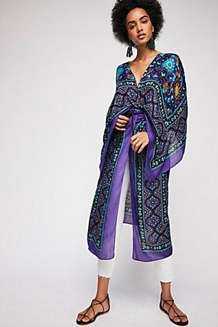 Magic Dance Border Print Kimono | Tuggl