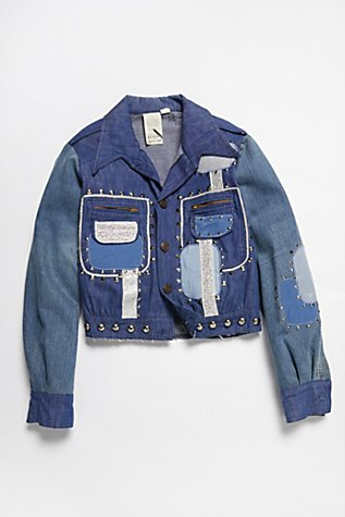 Vintage 1970s Patched and Studded Denim Jacket at Free People in Los Angeles, CA   Tuggl