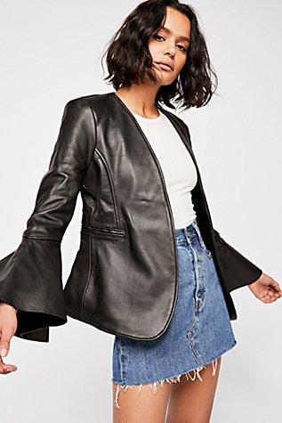 Studded Leather Belle Blazer | Tuggl