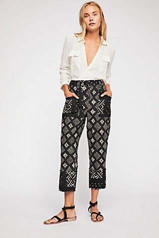 Imani Printed Cotton Pants  at Free People in Los Angeles, CA   Tuggl