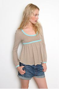 Free People Clothing Boutique > Feather Tie-Back Babydoll :  top shirt stripes free people