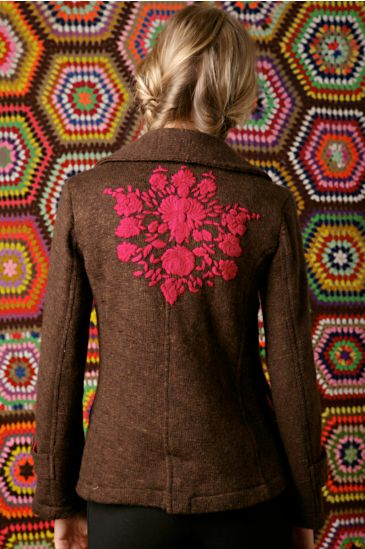 Embroidered Pea Coat