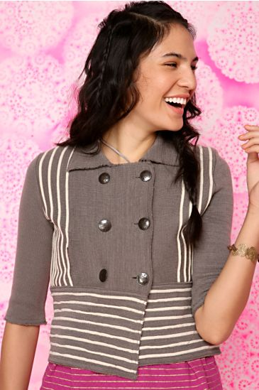 Free People Clothing Boutique > Sailing Stripes Jacket :  jacket outerwear sailor inspired brown
