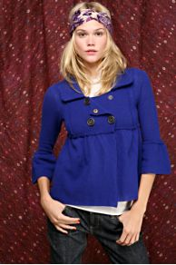 Free People Clothing Boutique > Double Breasted Bell Sleeve Cardigan :  blue snaps ruffles free people