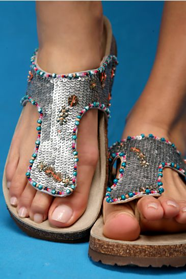 Free People Clothing Boutique > Silver Sequined Footbed from freepeople.com
