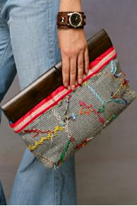 Free People Clothing Boutique > Reverse Embroidered Wood Handle Clutch
