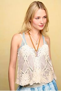 Free People Clothing Boutique > Pattern And Lace Top :  cami people sleeveless woven