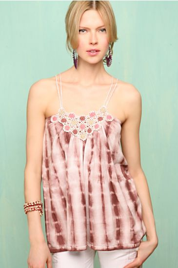 Fine gauge tie dye top with crocheted neckline and straps. Elastic banding along the upper back. from freepeople.com