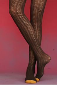 Free People Clothing Boutique > Patterned Pointelle Tights :  reinforced toe tights accessories brown