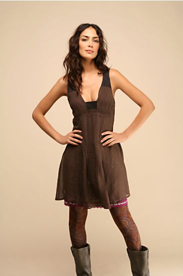Free People Clothing Boutique > Georgette Seamed Dress :  free people short dress brown dresses