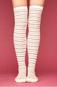Free People Clothing Boutique > Mountain Stripe Over The Knee Socks :  reinforced toe accessories light pink brown