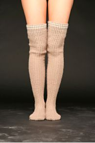 Free People Clothing Boutique > Beaded Rib Over The Knee Sock :  beaded rib over the knee sock thick horizontal stripes womens