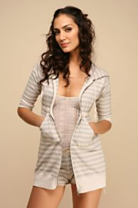 Free People Clothing Boutique > Striped Terry Hoodie :  drawstring womens empire waist tunic length