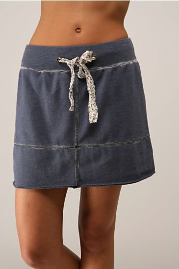 Free People Clothing Boutique > Cross Terry Skirt :  drawstring grey knit gray