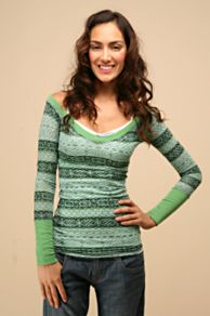 Free People Clothing Boutique > Sweater Burnout Double V :  sweater burnout double v clothing green fitted