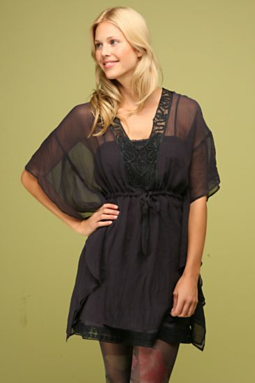 Free People Clothing Boutique > Crinkled Chiffon Caftan :  clothing crochet v-neck sheer