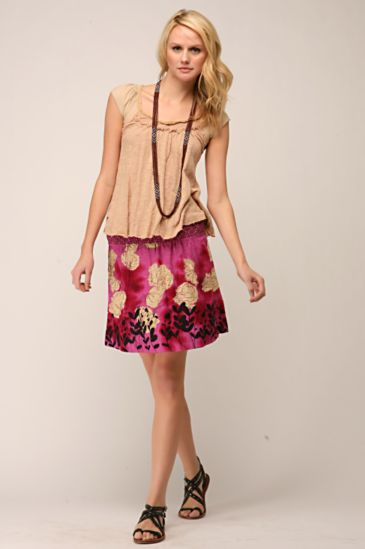 Free People Clothing Boutique > Cotton Nature Skirt :  printed nature smocked free people