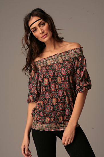Free People Clothing Boutique > Printed Smocked Off Shoulder Top