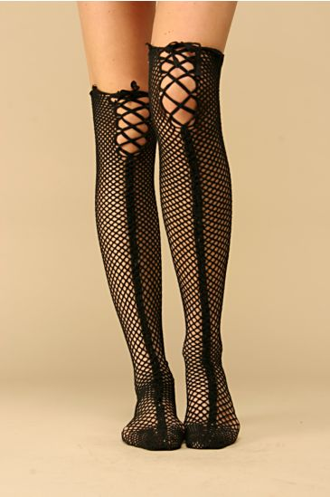 Free People Clothing Boutique > Lace Up Fishnet Sock :  knee high lace up free people nylons