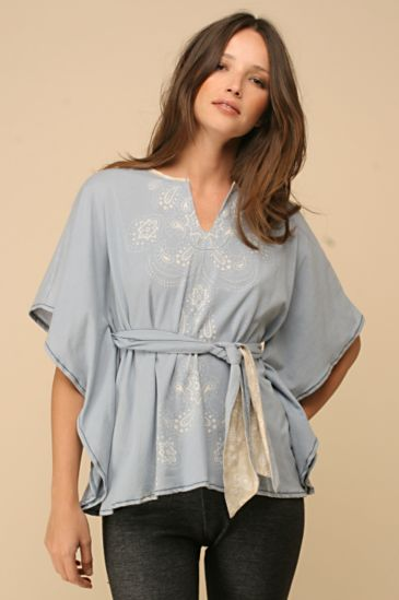 Free People Clothing Boutique > Mission Poncho :  blue hippie chic bohemian style poncho
