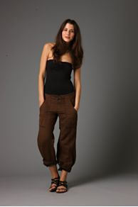 Free People Clothing Boutique > Linen Roll Up Pant :  drawstring pants bottoms linen pants