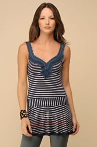 Free People Clothing Boutique > Dropwaist Quill Tunic :  striped blue tunic red