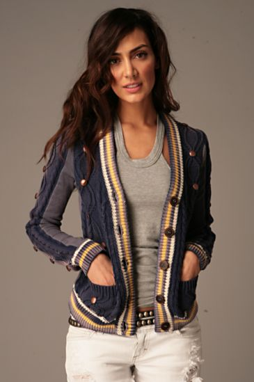 Free People Clothing Boutique > We The Free Studded Cable Cardigan :  cold weather sweater bronze metal studs