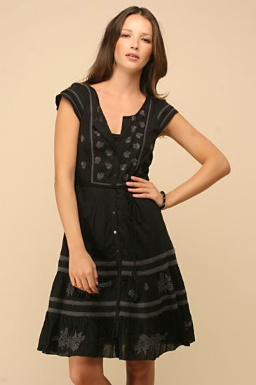 Free People Clothing Boutique > Embroidered Pintuck Dress :  black dress dress yellow retro