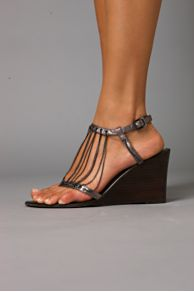 Giselle Chain Wedge :  shoes ankle strap chain metallic