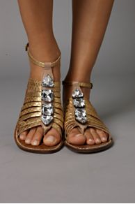 Gold Crystal Sandals