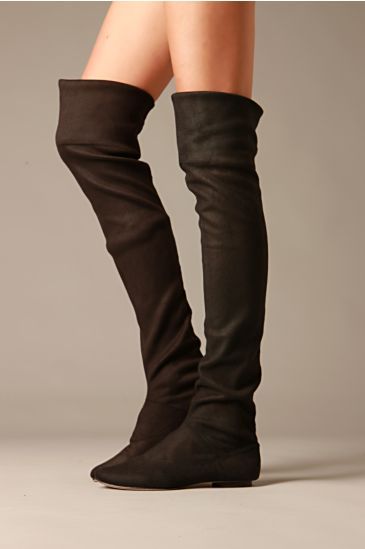 Convertible Over The Knee Boot :  suede boot fashion black