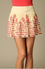 Mesh Inset Printed Skirt
