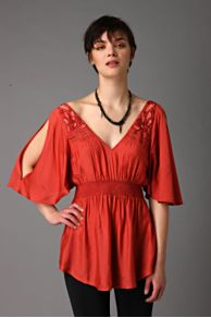 Free People Clothing Boutique > Smocked Waist Top :  tops hippie top red