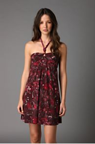 Free People Clothing Boutique > Sweet Lorrani Halter Dress :  maroon wooden beads rayon white