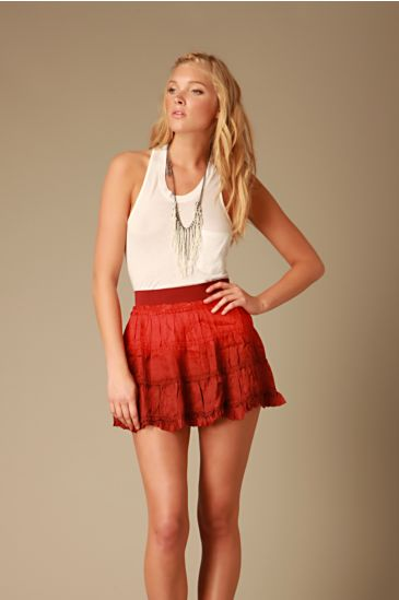 Dip Dye Crinkle Mini :  chic skirts crinkle tiered