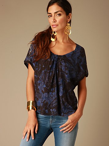 Free People Clothing Boutique > Printed Voluminous Top :  blue blouse tops black